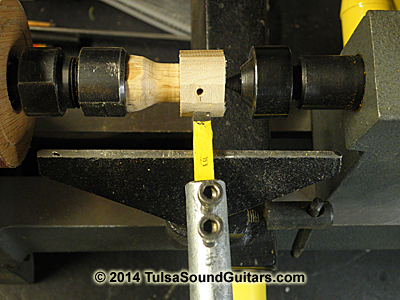 roughed-out knob in lathe w tool