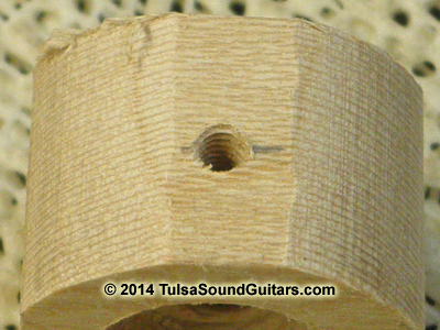 set screw hole in roughed-out knob